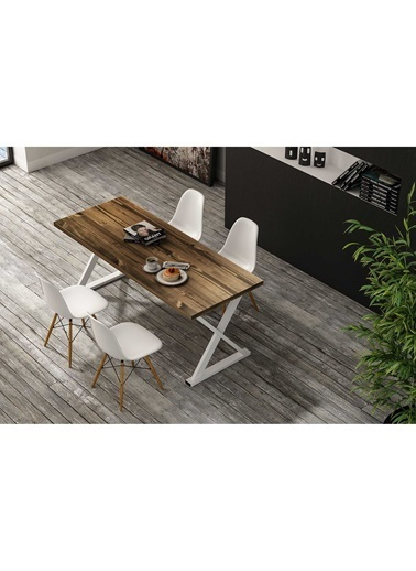 Woodesk Bahar Masif Ceviz Renk 150x70 Yemek Masası CPT7295-150 Kahve